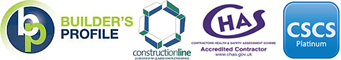 Builder's Profile, Constructionline, CHAS Accredited Contractor, CSCS Platinum